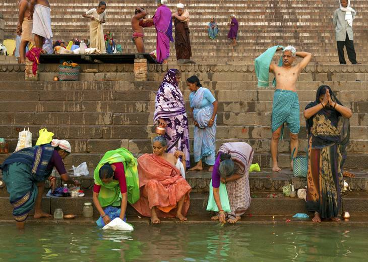 Prayers and bathing in the Ganges, Varanasi, 2005.