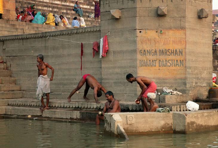 Exercising along the Ganges, Varanasi, 2005.