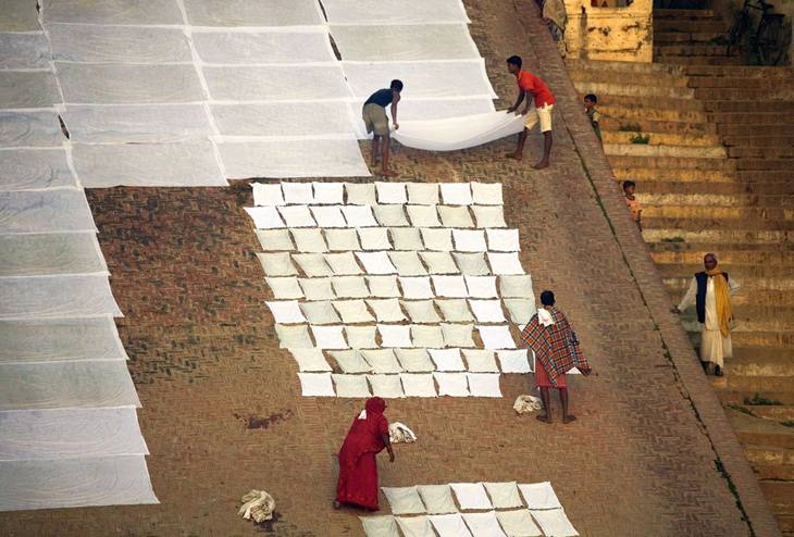 Drying laundry above the Ganges, Varanasi, 2005.