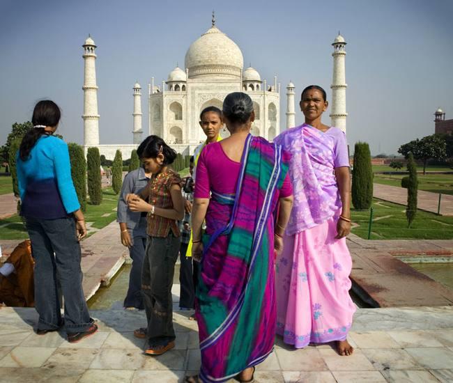 Women in front of Taj Mahal, 2005.