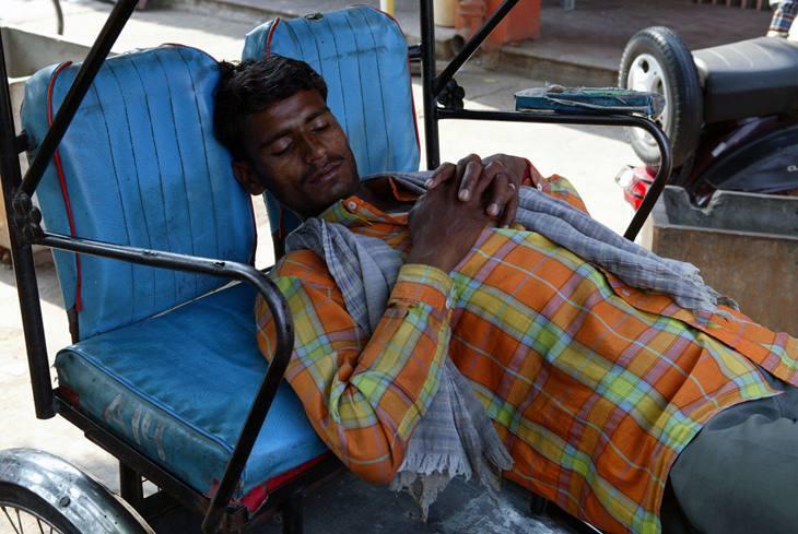 Rickshaw driver sleeping, Jaipur, 2005.