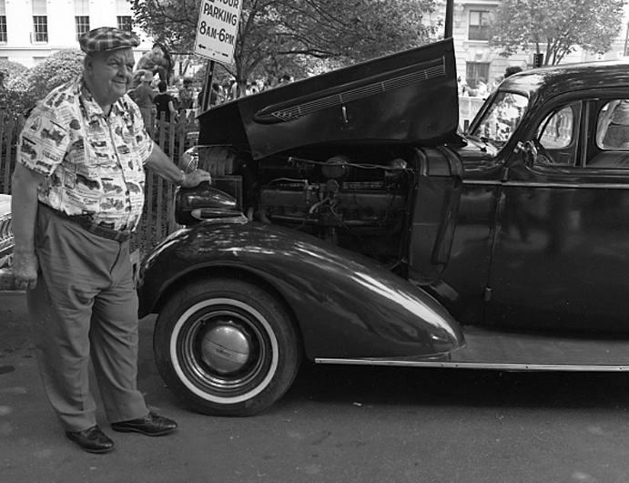 Man with car, Baltimore, 1979.