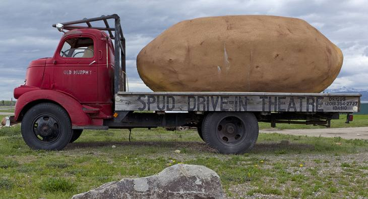 Truck in front of the Spud Drive-In Theatre, Teton Valley, Idaho, 2010.
