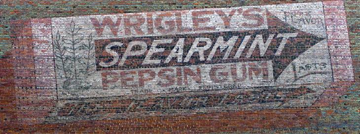 Hand-painted Wrigley's gum advertisement, downtown Montgomery, Alabama, 2010.