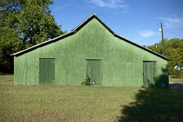 Old green shed made famous by William Christenberry, Newbern, Alabama, 2010.