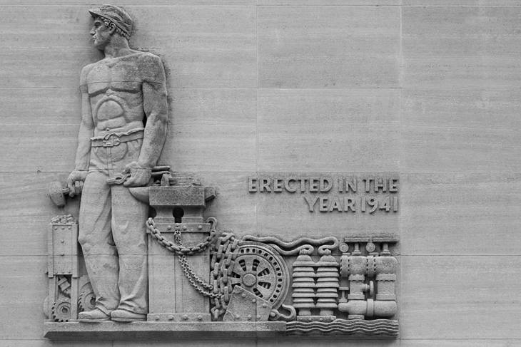 Detail carved in stone, bank building, Minneapolis, Minnesota, 2007.