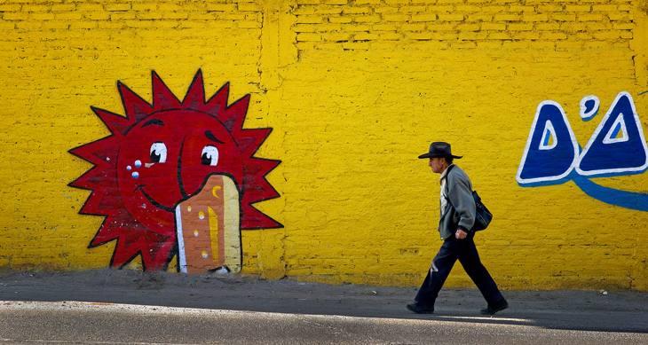 Man walking near airport, Arequipa, Peru, 2007.