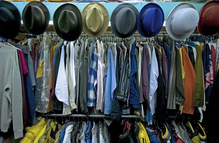 Merchandise, Smitty's men's and boy's clothing, Vine Street, 2009.