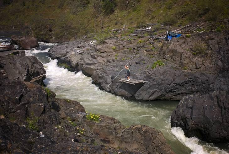 Dip net fishing on the Klickitat River, Washington, 2009.