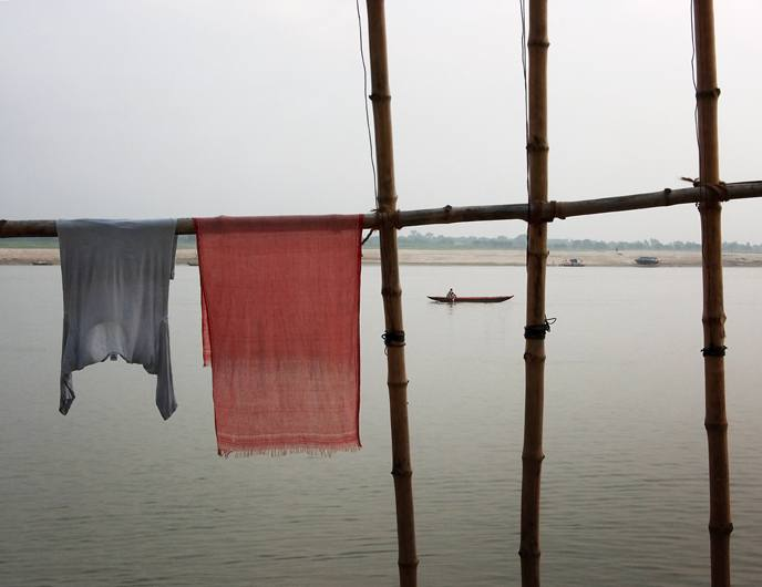 Laundry drying by the Ganges, Varanasi, 2005.