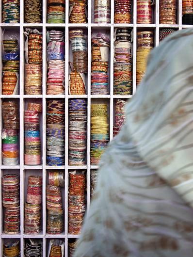 Bracelets for sale, Pushkar, 2005.