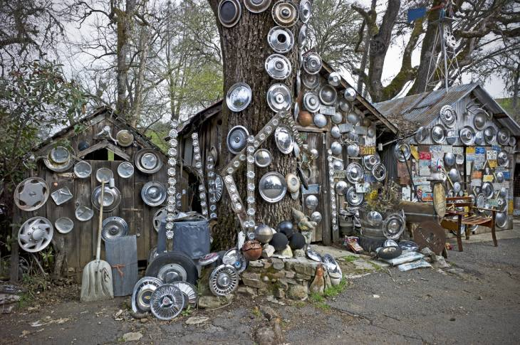 "Damonte's ""Hubcap Ranch,"" begun in 1935 consisting of thousands of hubcaps, Pope Valley, California. March 2011."