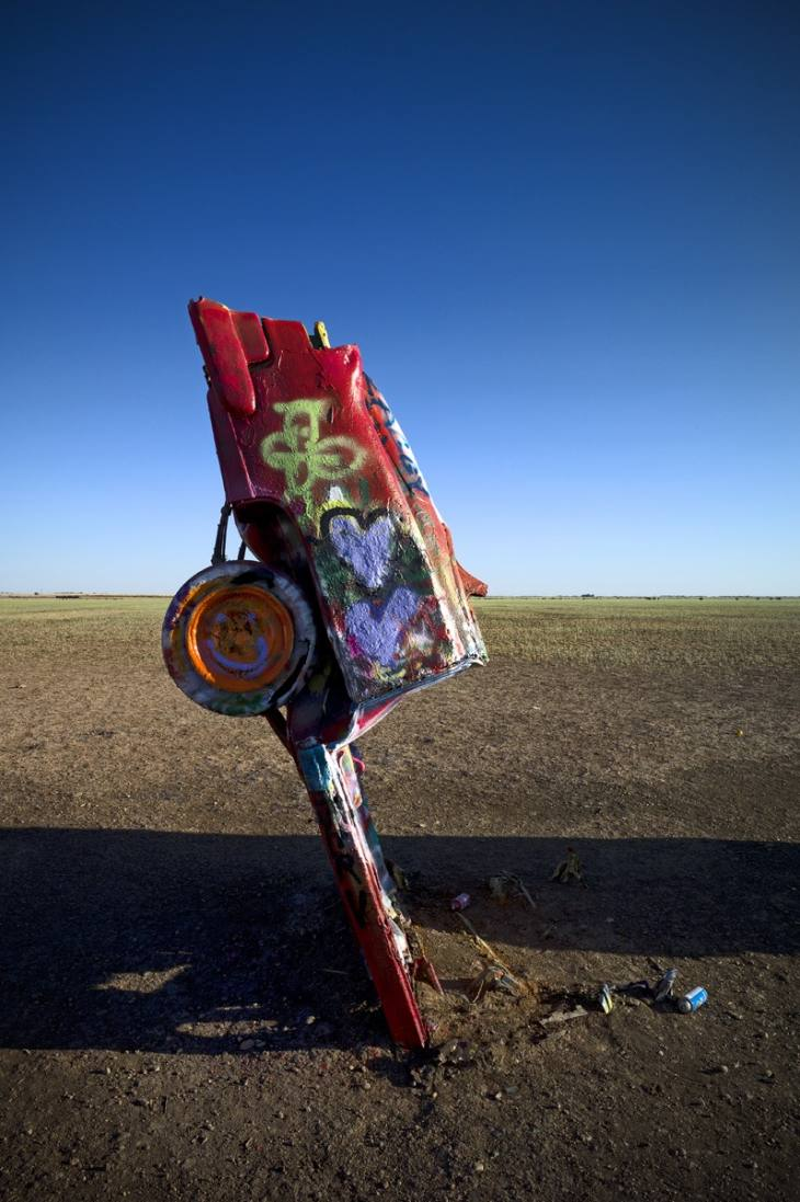 Stanley Marsh 3's Cadillac Ranch, constructed in 1974 just west of Amarillo, Texas. May 2011.