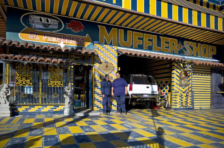 El Pedorrero Muffler Shop, located on East Whittier Boulevard, East Los Angeles, California. January 2012.