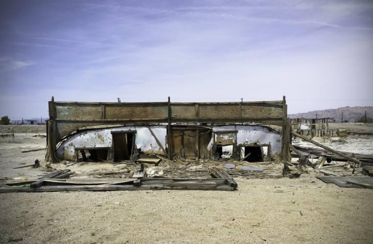 Mobile home near the shores of the Salton Sea, Bombay Beach, California. March 2010.
