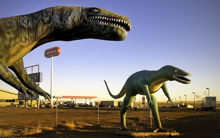 Dinosaurs at a truck stop near Holbrook, Arizona. January 2009.