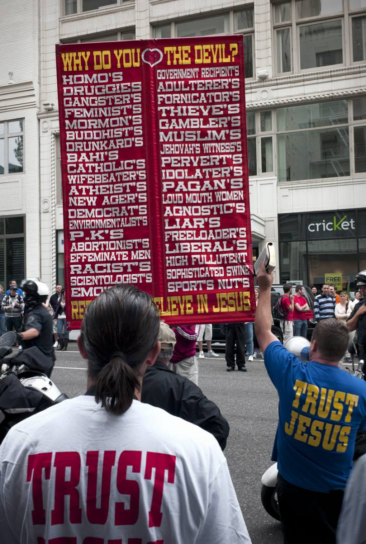 Banner at Gay Pride Day Parade, Portland, Oregon. June 2009.