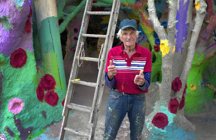 Leonard Knight, creator of Salvation Mountain, outside Niland, California. March 2010.