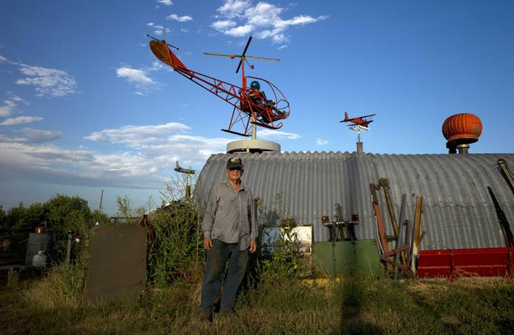 Mel Gould, engineer, mechanical genius, and self-described tinkerer, east of Cheyenne, Wyoming. August 2011.