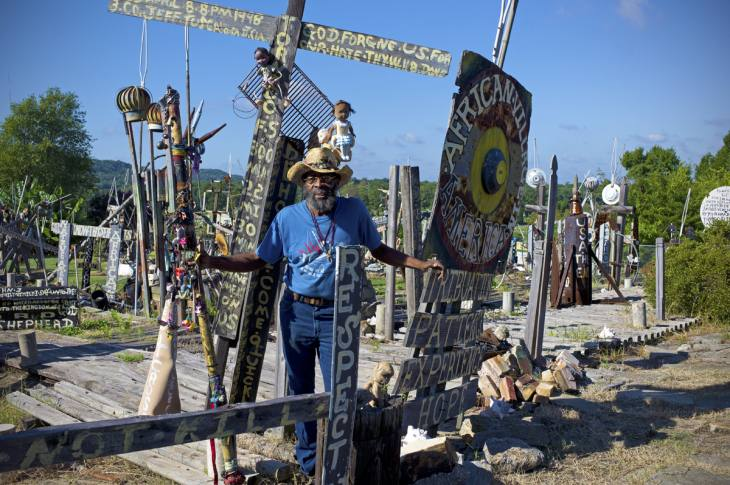"Joe Minter, Sr., in his ""African Village in America,"" Birmingham, Alabama. September 2010."