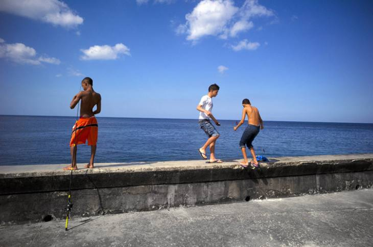 Fishing along the Malecon, Havana.