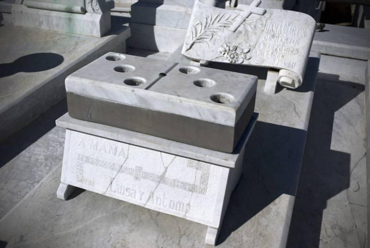 Tomb of a legendary Cuban domino player, Cemeterio Colon, Vedado, Havana.