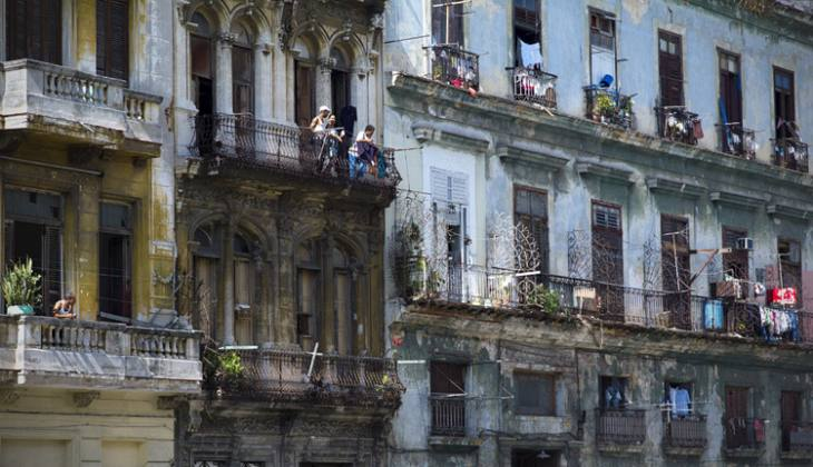Balconies on Calle Industria opposite the Capitolio Nacional, Havana.