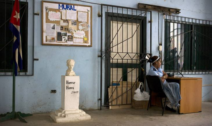 One of thousands of monuments to Jose Marti across Cuba, in a small factory, Habana Vieja.