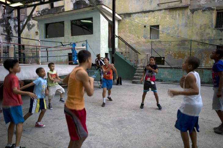 Boxer training at Rafael Trejo Boxing Gym, Calle Cuba, Habana Vieja.