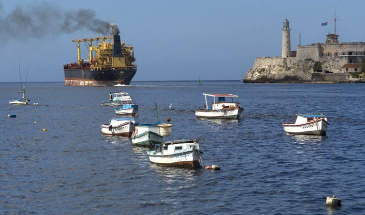 Ship leaving harbor, Havana.