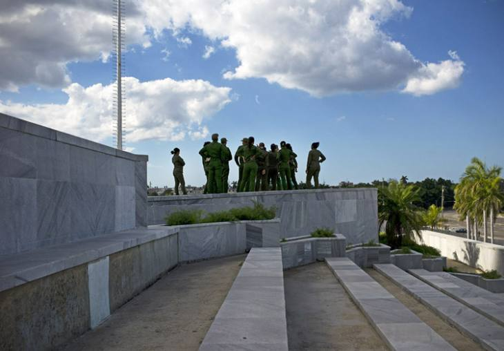 Cuban soldier, standing on the spot where Castro delivered many long speeches, Plaza de Revolucion, Havana.