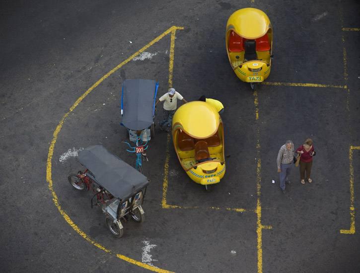 Taxis on the Prado, Havana.
