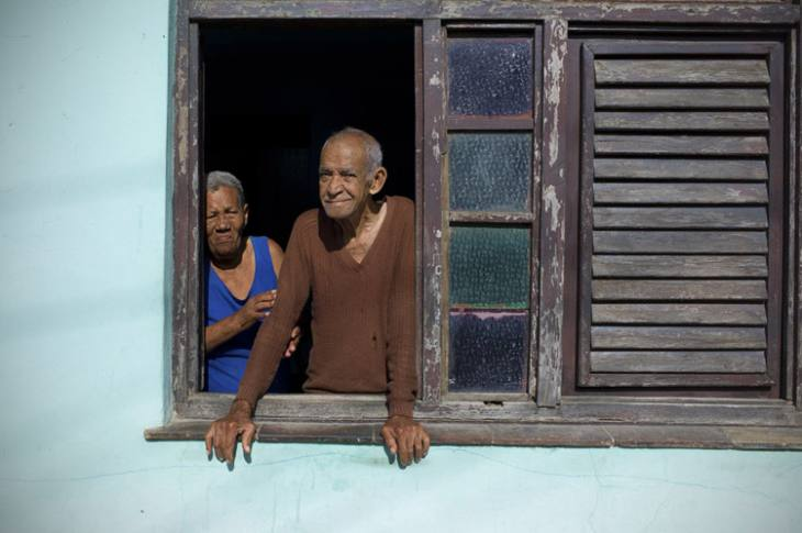 Couple in window, Trinidad.